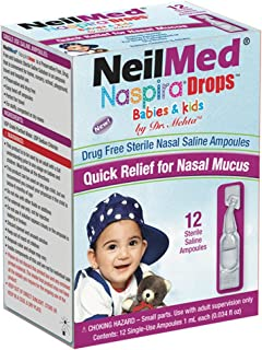 NeilMed Naspira Drops - Easy twist-off 12ct Ampoules, (Packaging May Vary)