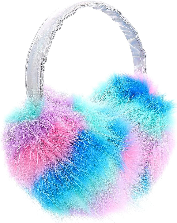 OSALADI Womens Girls Winter Earmuffs Multicolored Faux Fur Ear Warmers Adjustable Outdoor Furry Warm Ear Headwear