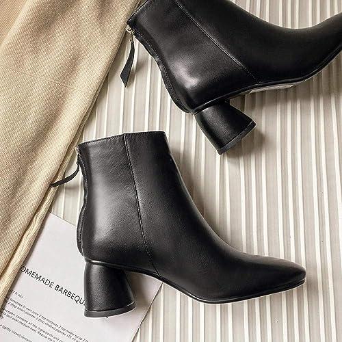 HFCIUD Bottines en Cuir pour Femmes,Chaussures De Femmes Noires Haut Talon Chaussures Femmes Bottes en Cuir épais avec Martin à Tête Ronde Sauvage Chelsea Bottes Courtes