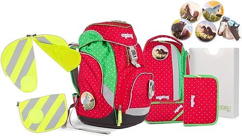 Ergobag Pack GaloppB Schulrucksack Set 7tlg. inkl. Sicherheitsset mit Reflektorstreifen nach Wahl