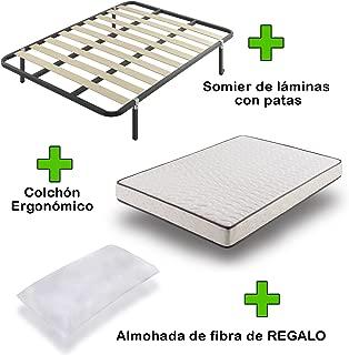 Pack Colchón eco18 + somier Basic con Patas + Almohada de Regalo 135x190