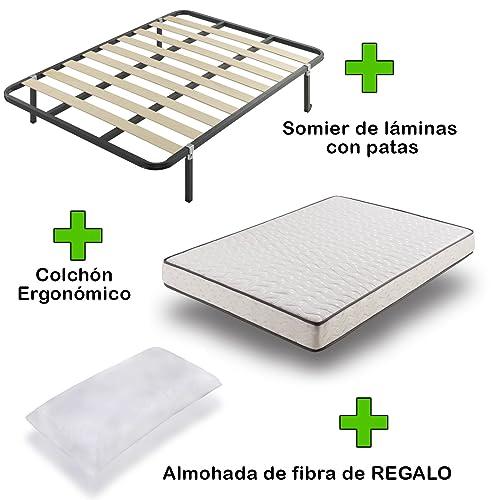 Due-home Pack Colchón eco18 + somier Basic con Patas + Almohada de Regalo 135x190