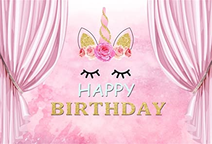 CSFOTO 6x4ft Background for Unicorn Happy Birthday Party Decor Photography Backdrop Pink Sweet Dreamy Curtain Happiness