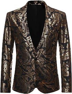 Allthemen Men's Tuxedo Jacket Classic Wedding Hot Stamping Shiny Single Button Floral Print Party Dress Suit Blazer