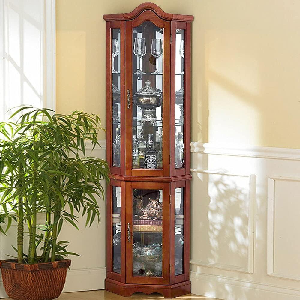 Buy Sophia & William Corner Curio Display Cabinet with Tempered ...