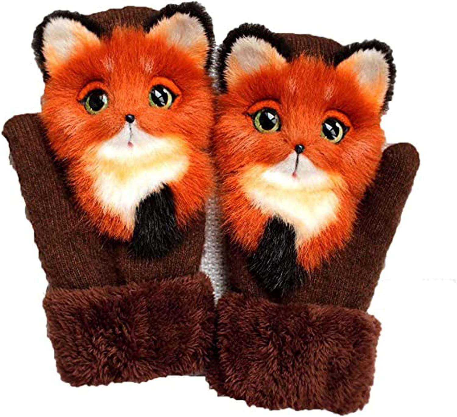 3D Animal Style Autumn And Winter Warmth Knitted Gloves Cute Womens Short Plush Gloves