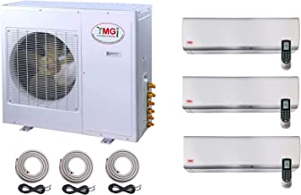 YMGI Tri Three Zone 3 Zone 27000 BTU 9000 9000 9000 Ductless Mini Split Air Conditioner 21 SEER with Wall Mount Indoor Unit and 25ft Lineset and Wire Included