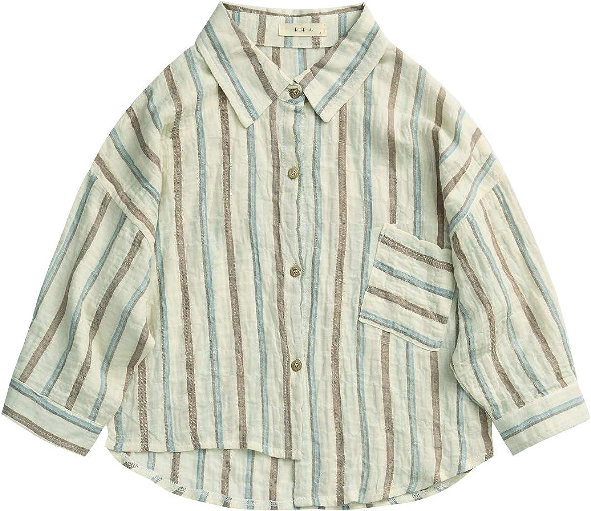 Mason Island Little Boys Girls Kids Autumn Button Down Long Sleeve Shirt Toddler Woven Linen Design Loose Clothes