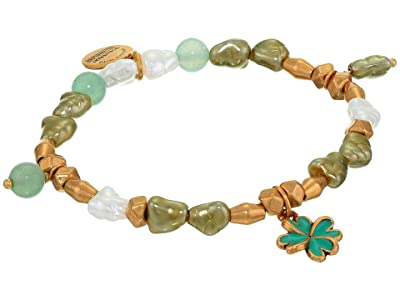 Alex and Ani Four Leaf Clover Beaded Charm Stretch Bracelet (Gold) Bracelet