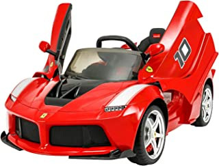 Modern-Depo Ferrari Laferrari 12V Kids Ride On Car Electric Vehicle with Remote Control, Leather Seat, Openable Scissor Doors, Racing Steering Wheel, 2019 Upgraded Version