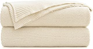Cream Cotton Cable Knit Throw Blanket for Couch, Home Decorative Throws, Woven Throw Blankets with Bonus Laundering Bag, 2.3 Pounds 50 x 60 Inches