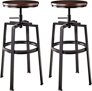 AMERLIFE Bar Stools Set of 2 Adjustable Round Wood Metal Stool Swivel Kitchen Counter Height Bar Stools Backless, 26-30 inches, Farmhouse Pub Height Stool (Walnut)