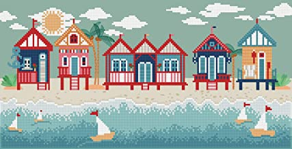 Seaside Days, Beach Huts Décor, Diamond Artwork Decoration DIY Kit - 53 X 27CM