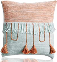 "Warm Day Euro Shams Pillow Cover Decorative Knitted Cushion Cover Set Blue Orange Color Clocking Pillowcases Soft Square Throw Pillow Case with Tassels for Couch Sofa Bedroom Car- 18"" x 18"" - 1 Pcs"