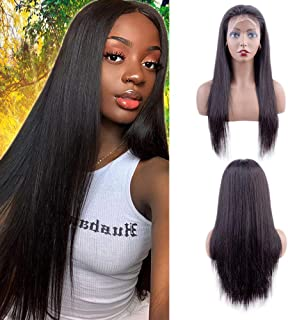 Uuwig Straight Lace Front Wigs Human Hair 12 Inch 13x4 Lace Front Wig with Baby Hair 150% Density Wigs for Black Women Hum...
