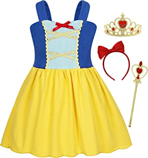 Jurebecia Snow White Costume for Girls Princess Dress up Halloween Party Dresses 1-12 Years
