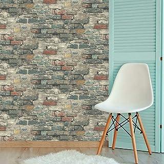 RoomMates RMK11080WP Teal Brick Alley Peel and Stick Wallpaper