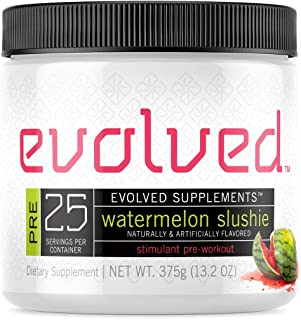 Evolved Supplements Stimulant Preworkout, 25 Servings, Watermelon Slushie, 3 Stage Caffeine Release, Pump, Focus, Enduranc...