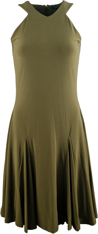 LAUREN RALPH LAUREN Women's Sleeveless Halter-Neck Jersey Dress