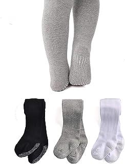 Epeius Baby Tights Baby Girls/Boys Non Slip/Skid Grip Leggings Seamless Cotton Stockings Newborn Infant Toddler 3-Pack