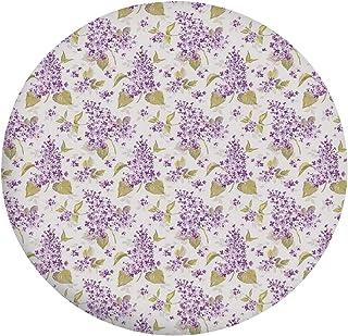 Nappe de table en polyester avec bords élastiques - Motif floral rétro - Icônes de beauté naturelle - Pour table ronde de ...