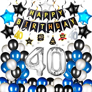 BTSD-home 40th Birthday Party Decorations Kits 40 number balloons 40 Hanging Swirls Navy Blue Latex Balloons Star Foil Balloons Happy Birthday Banner and Star Paper Garlands(73PCS)