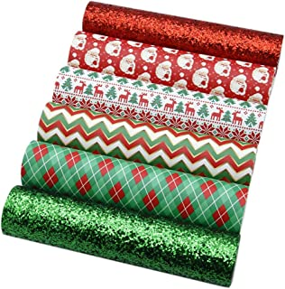 """David Angie Christmas Faux Leather Sheets Crude Glitter Sequin Synthetic Leather Sheets Assorted 6 Pcs 7.9"""" x 13.4"""" (20 cm..."""