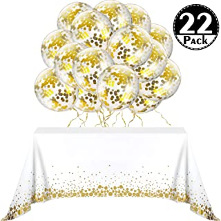 Polka Dot Decorations, Include 2 Pieces Gold Polka Dot Confetti Rectangular Table Covers, 51 x 71 Inches, 20 Pieces Golden Balloons with Dots for Parties Thanksgiving Christmas Wedding, Anniversary