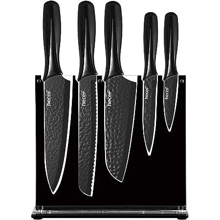 Hecef Ensemble de 6 couteaux de chef, ensemble de couteaux de cuisine noir mat avec support en acrylique, lame martelée en acier inoxydable et poignée en PP, convient à toutes les tâches