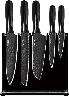 Hecef Ensemble de 6 couteaux de chef, ensemble de couteaux de cuisine noir mat avec support en acrylique, lame martelée en...