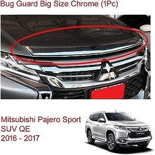 Powerwarauto Chrome Bug Guard Shield Hood for Mitsubishi Pajero Montero Sport SUV Medium Silver Medium Silver