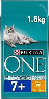 Purina ONE Senior 7+ Kattenvoer, Senior Kattenbrokken, met Kip en Volkoren Granen, 1,5kg - Doos van 3 (4,5kg)