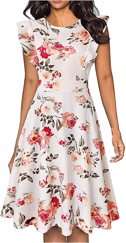 Women's Summer Dresses Casual Ruffle Slim OFFicial mail Super intense SALE order Pri Vintage Midi Dress