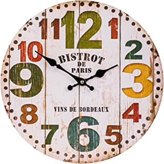 SkyNature Decorative Wall Clock, Colorful Numbers MDF Wooden Home Clocks, Indoor Silent Non-Ticking Battery Operated Clock for Living Room, Kids Bedroom, Kitchen and Den - 12 Inch