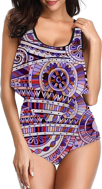 Womens Pattern-13 Swimsuits Design Tankini top with High Waisted Bottom Bikinis Set Two Piece Swimdress