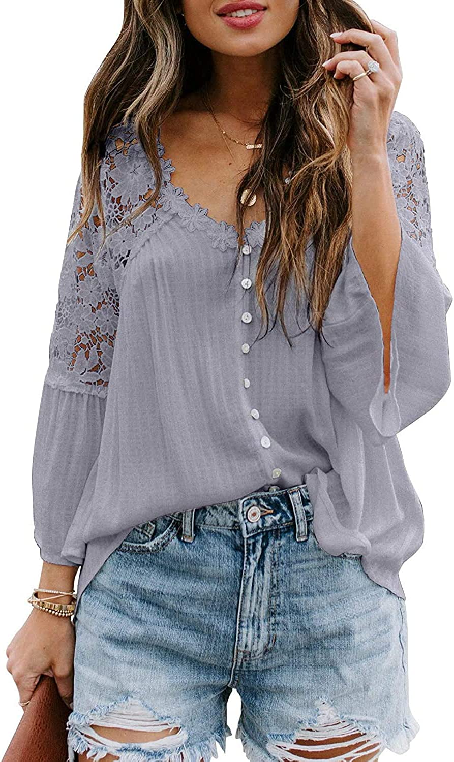 Uusollecy Women's Long Sleeve Top Lace Crochet Button Down Shirts Casual Loose Tops and Blouses