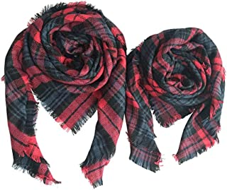 YiyiLai Pack of 2 Parent Child Plaid Square Winter Shawl Warm Scarf Wrap Tartan Blanket