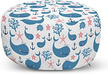 Lunarable Anchor Ottoman Pouf, Whales Starfish Coral Shell Aquatic Wilderness Childish Smiling Joyful, Decorative Soft Foot Rest with Removable Cover Living Room and Bedroom, Coral Blue White
