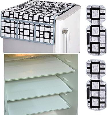 Kuber Industries Combo of PVC 3 Pieces Fridge Mats, 2 Piece Handle Cover and 1 Piece Fridge Top Cover (Grey) - CTKTC22396