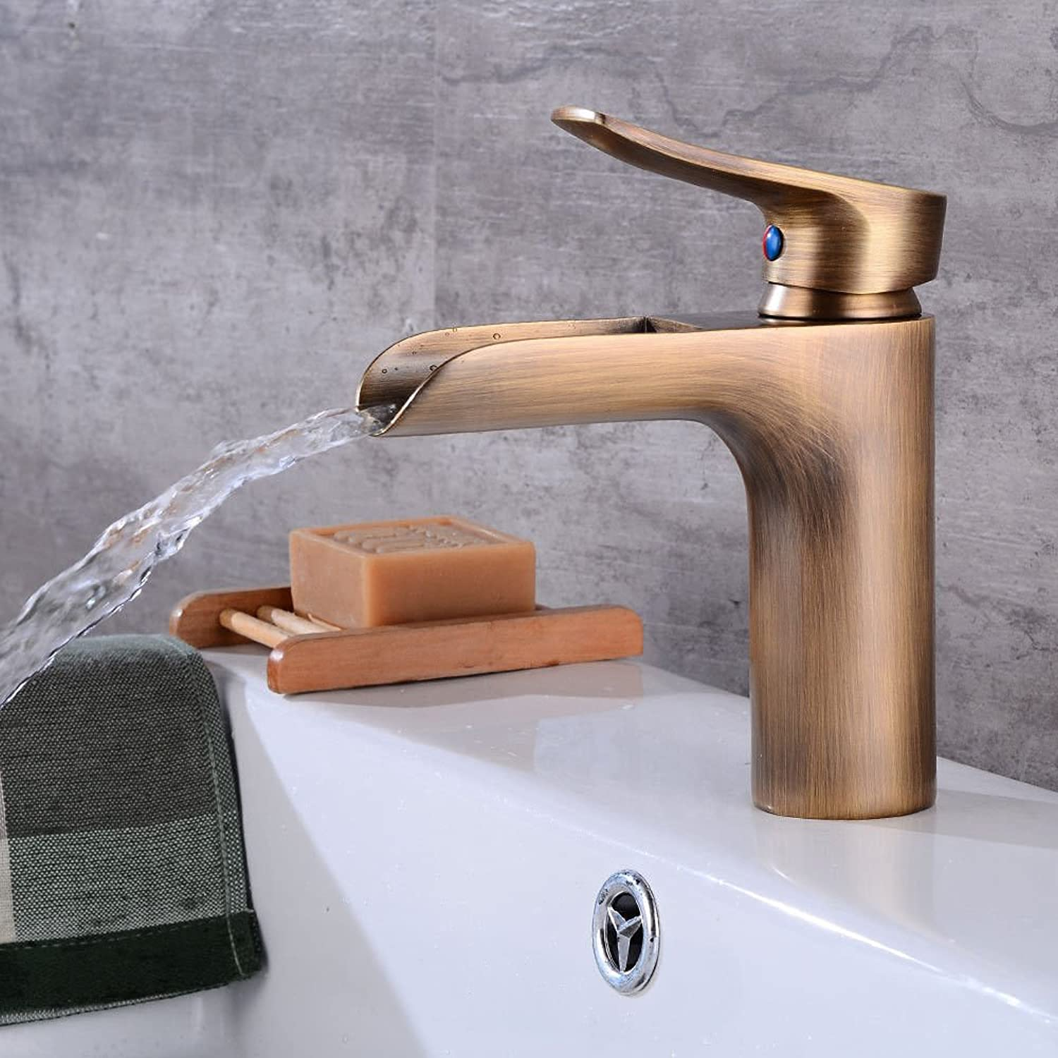 ETERNAL QUALITY Bathroom Sink Basin Tap Brass Mixer Tap Washroom Mixer Faucet On the tub faucet waterfall bathroom faucet hot and cold retro single hole Single Handle Fau