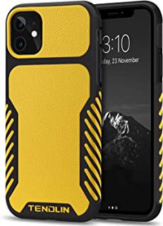 TENDLIN Compatible with iPhone 11 Case Leather Texture TPU Hybrid Grip Case (Yellow)