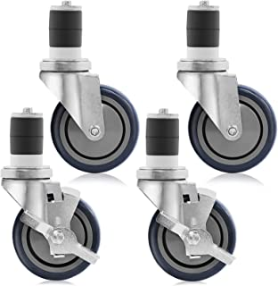GRIDMANN 4 inch Caster Wheel Set for Commercial Kitchen Prep Tables, 2 Wheels with Brakes, 2 Without Brakes