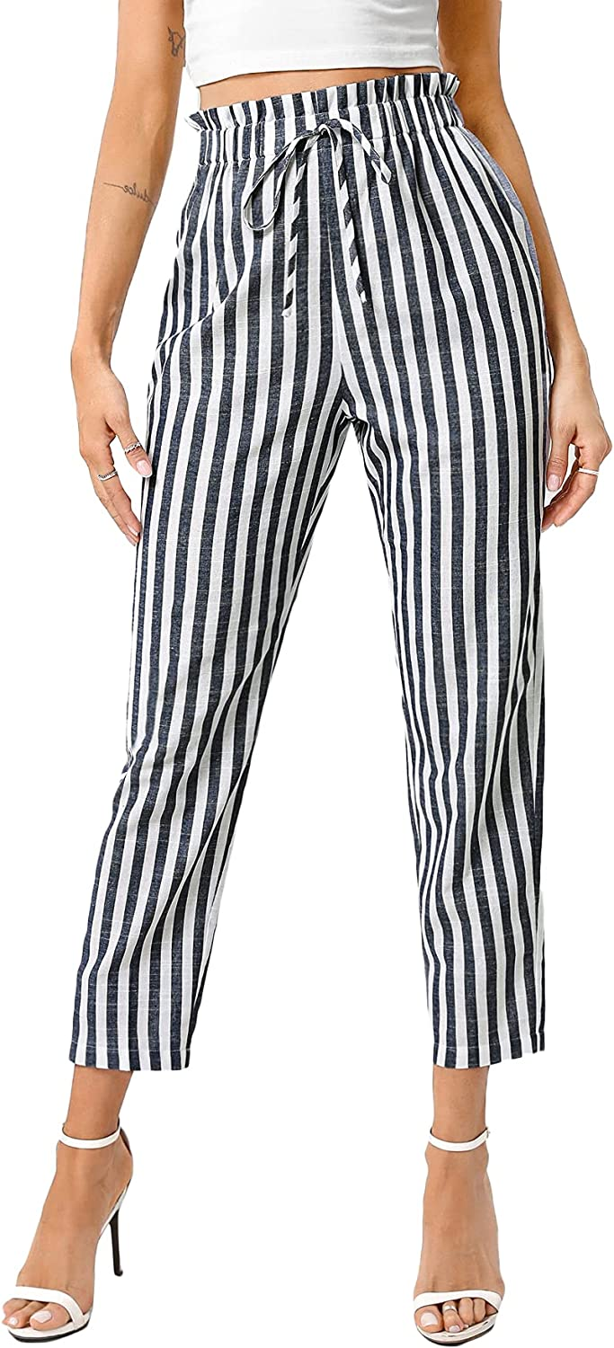Milumia Women Striped Paperbag High Waisted Pants Tie Front Drawstring Cropped Pants