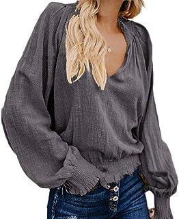 Zimaes Women Long Sleeve Pure Color Stylish Tunic V-Neck Linen Shirt Top