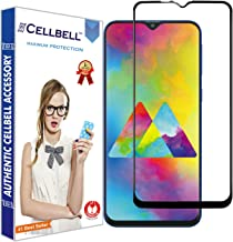CELLBELL® Full Glue Edge to Edge Tempered Glass Screen Protector with Installation Kit Compatible with Samsung Galaxy M20[Black]