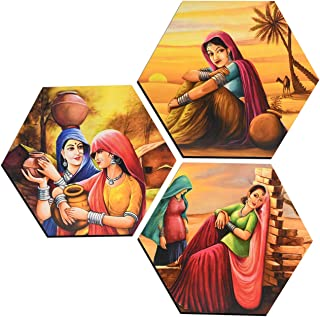 MAHAGAURI ART & SIGN Wall Mounted Designer Hexagon Printed Paintings Wall Hanging of Scenery Digital Print Poster for Bedr...