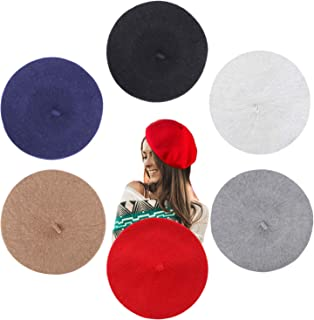 6pcs Beret Hat French Style 6 Solid Colors Fashion Beanie Cap for Women and Girls in Winter
