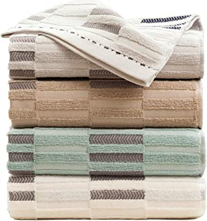 Hand Towels Set of 4, 37x18in Thick, Soft, Plush and Highly Absorbent Hand Towels 4 Pack(Stripe-Hand Towels)