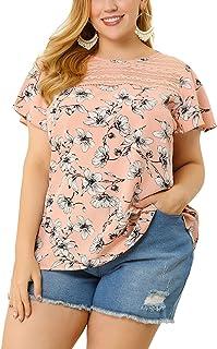 Agnes Orinda Plus Size Blouses for Women Floral Lace Panel Keyhole Back Flare Sleeve Ruffle Blouse