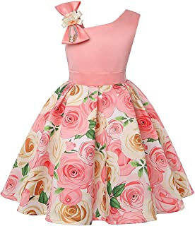 Toddler Rainbow Wedding Party Kids Dresses for Girls Open back Sparkly Princess Gown 2-10Years